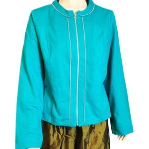 Chico's outlet teal zip up teal jacket NWT